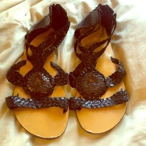 Ecote brown and black braided sandal